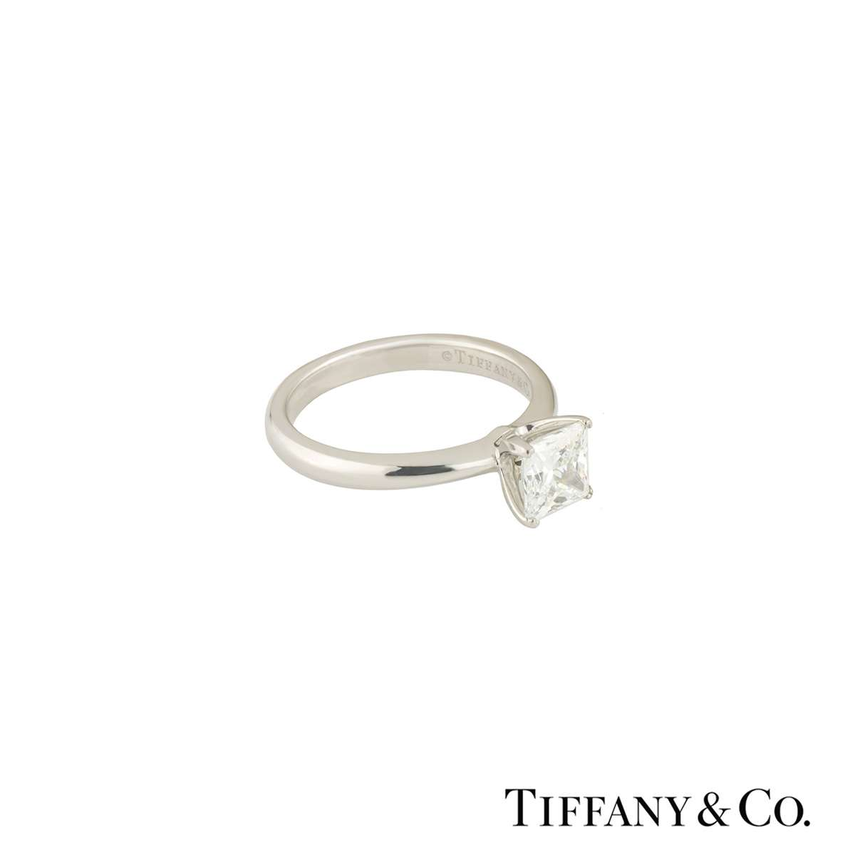 Tiffany & Co. Platinum Princess Cut Diamond Ring 1.05ct G/VVS2